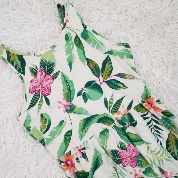 Girl's Summer White Floral Print Dress XL Old Navy